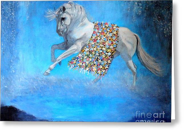 The Horse Greeting Cards - The Unicorn Greeting Card by Dagmar Helbig