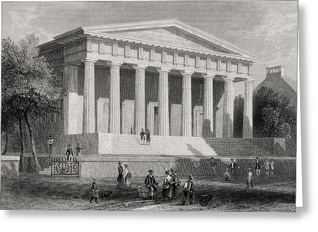 Philadelphia History Drawings Greeting Cards - The United States Bank Philadelphia Usa Greeting Card by Vintage Design Pics