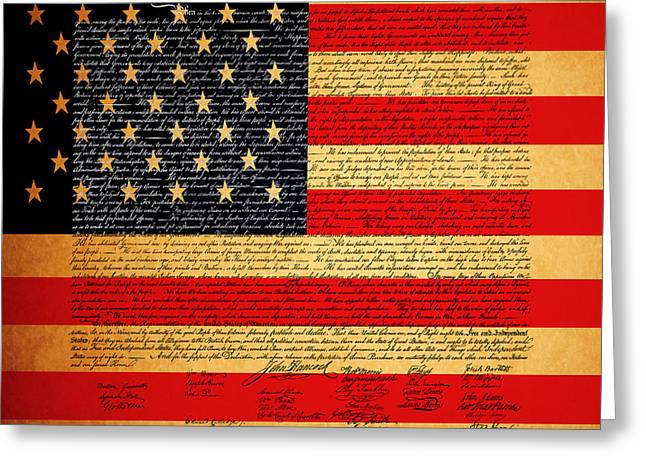 4th Digital Art Greeting Cards - The United States Declaration of Independence - American Flag - square Greeting Card by Wingsdomain Art and Photography