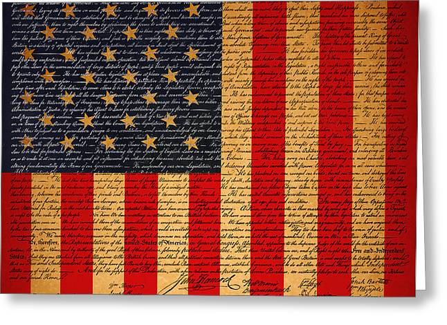 The United States Declaration of Independence And The American Flag 20130215 Greeting Card by Wingsdomain Art and Photography