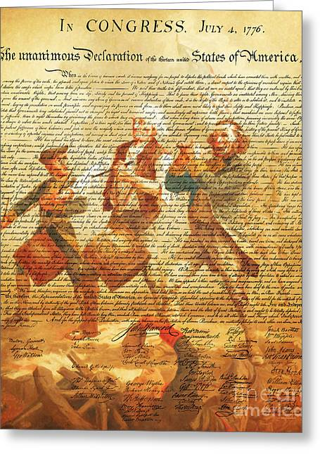 4th July 1776 Greeting Cards - The United States Declaration of Independence And The Spirit of 76 20150704v2 Greeting Card by Wingsdomain Art and Photography