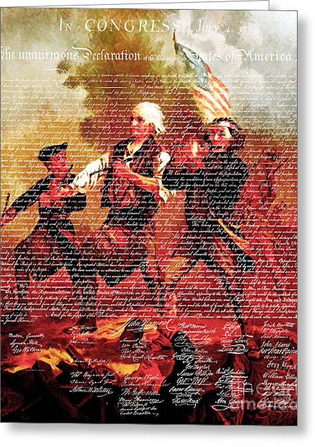 4th July Digital Greeting Cards - The United States Declaration of Independence And The Spirit of 76 20150704v3 Greeting Card by Wingsdomain Art and Photography