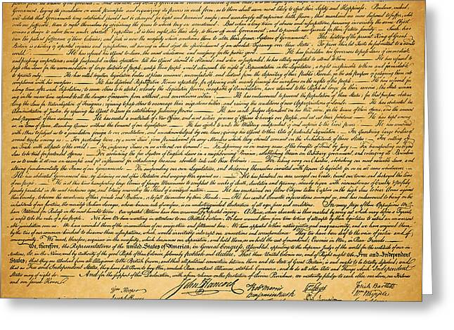 The United States Declaration of Independence Greeting Card by Wingsdomain Art and Photography