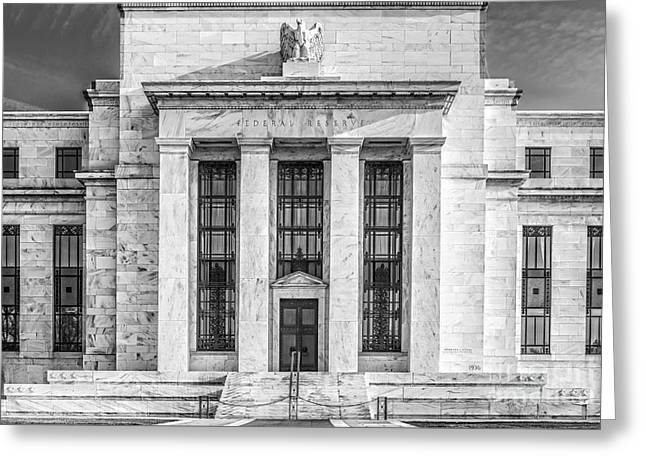 Enterprise D Greeting Cards - The United States Federal Reserve BW Greeting Card by Susan Candelario