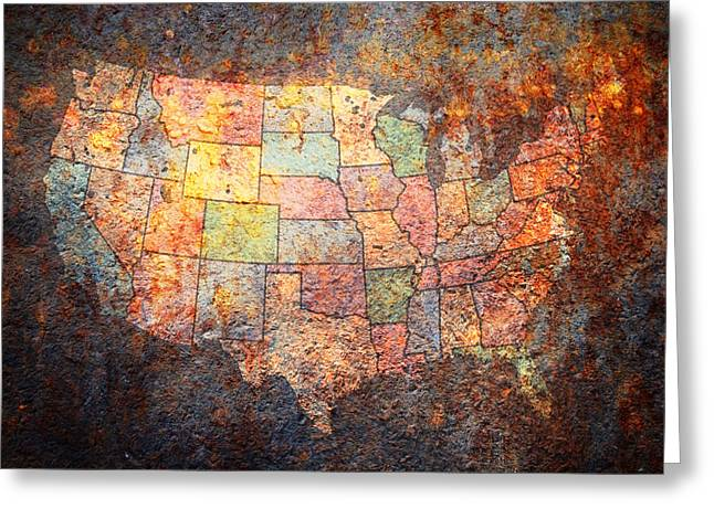 Map Mixed Media Greeting Cards - The United States Greeting Card by Michael Tompsett