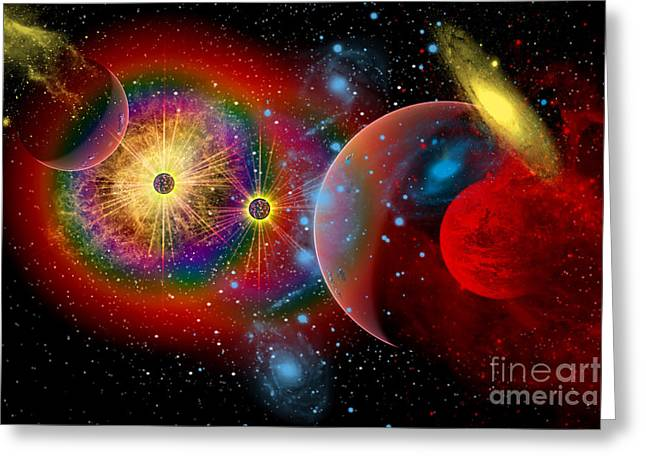 Comet Greeting Cards - The Universe In A Perpetual State Greeting Card by Mark Stevenson