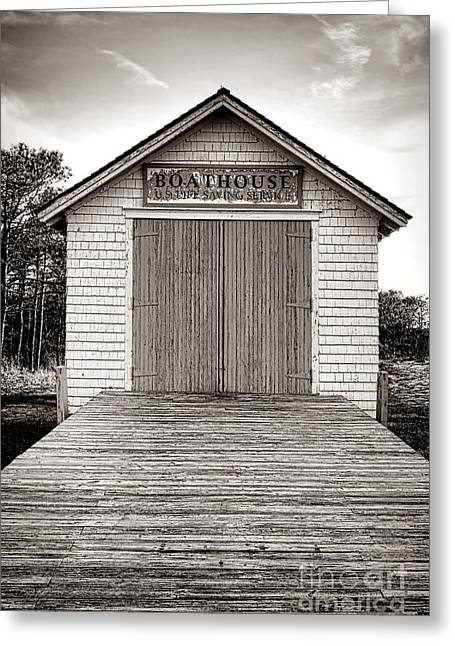 The U.s. Life Saving Service Boathouse Greeting Card by Olivier Le Queinec