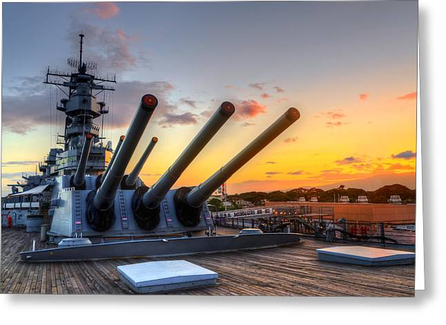 16 Inch Guns Greeting Cards - The USS Missouris Last Days Greeting Card by Jason Chu