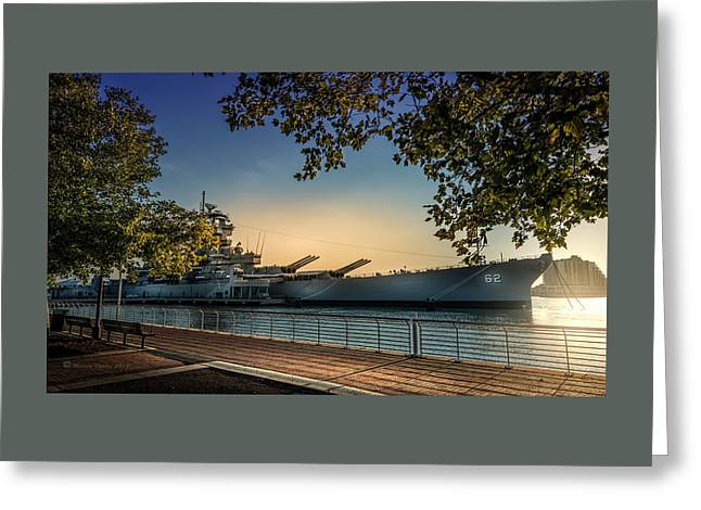 The Uss New Jersey Greeting Card by Marvin Spates