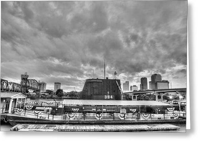 Arkansas Greeting Cards - The USS Razorback in Black and White Greeting Card by JC Findley