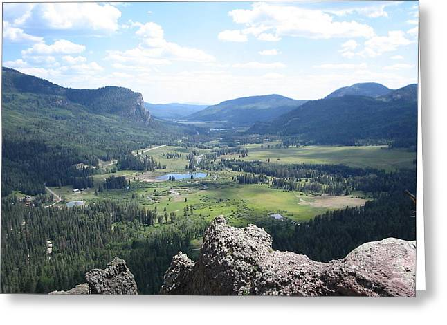 Wolf Creek Greeting Cards - The Valley Below Greeting Card by CGHepburn Scenic Photos