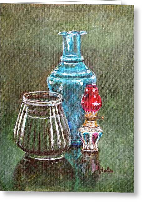 Glass Vase Greeting Cards - The Vase Candle and Lamp Greeting Card by Usha Shantharam