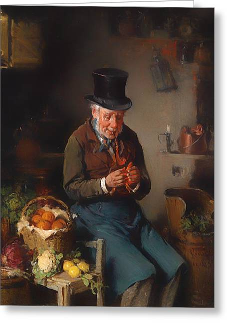 Apron Greeting Cards - The Vegetable Handler Greeting Card by Hermann Kern