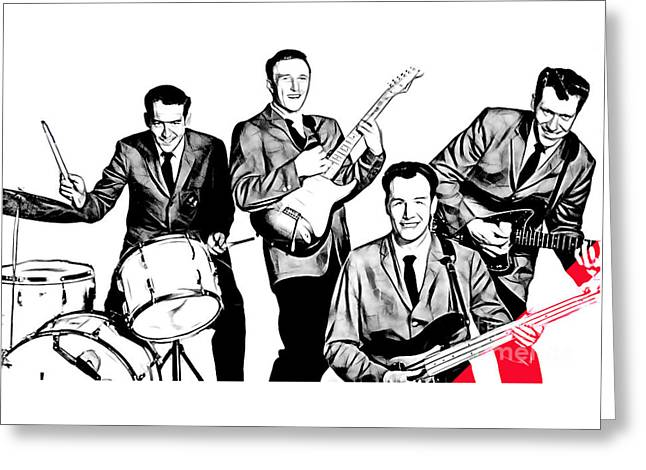 Rock And Roll Greeting Cards - The Ventures Collection Greeting Card by Marvin Blaine