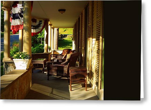 A Summer Evening Greeting Cards - The Veranda Greeting Card by Karen Cook