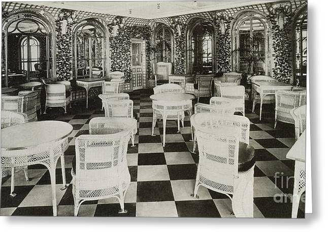 First Class Greeting Cards - The Verandah Cafe Of The Titanic Greeting Card by Photo Researchers
