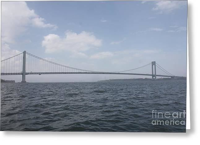 White Photographs Greeting Cards - The Verrazano Bridge Greeting Card by John Telfer