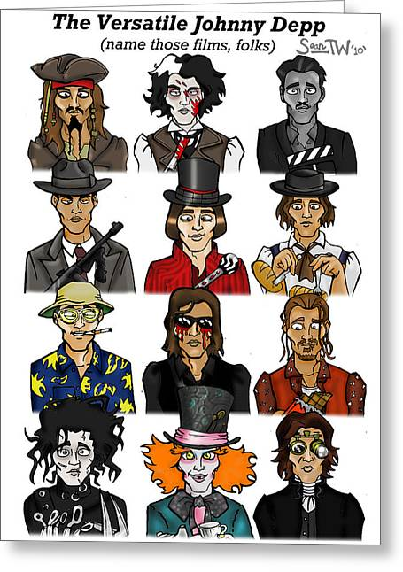 Mad Hatter Greeting Cards - The Versatile Johnny Depp Greeting Card by Sean Williamson