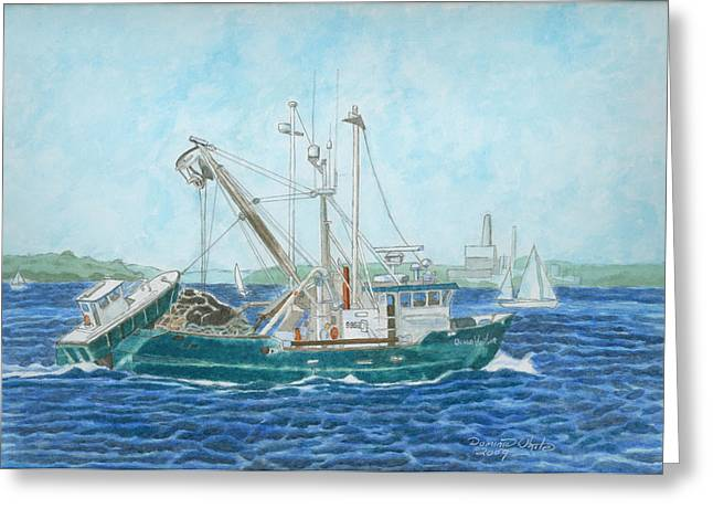 Newengland Greeting Cards - The Vessel Ocean Venture - Portland Harbor Greeting Card by Dominic White