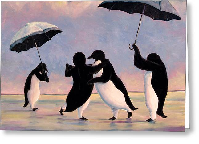 Penguins Greeting Cards - The Vettriano Penguins Greeting Card by Michael Orwick