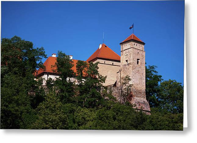 The Veveri Castle Greeting Card by Jenny Rainbow