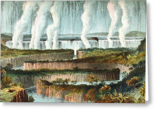 Zimbabwe Drawings Greeting Cards - The Victoria Falls Or Mosi-oa-tunya Greeting Card by Vintage Design Pics