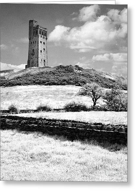 Victorian Greeting Cards - The Victoria Jubilee Tower at Castle Hill Huddersfield West Yorkshire England UK Black and White Greeting Card by Jon Boyes