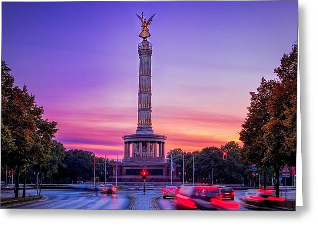 The Victory Column At Sunset - Berlin Greeting Card by Mountain Dreams