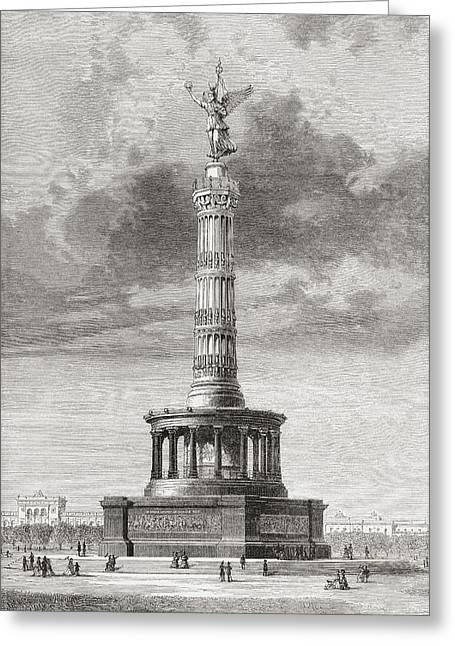 Berlin Germany Drawings Greeting Cards - The Victory Column In The Tiergarten Greeting Card by Ken Welsh