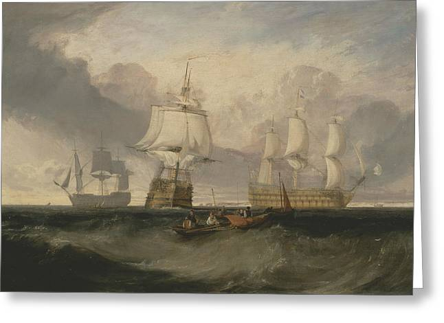 The Victory Returning From Trafalgar In Three Positions Greeting Card by Joseph Mallord William Turner