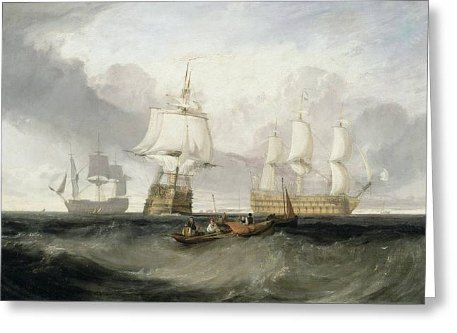 Water Vessels Greeting Cards - The Victory Returning from Trafalgar Greeting Card by Joseph Mallord William Turner