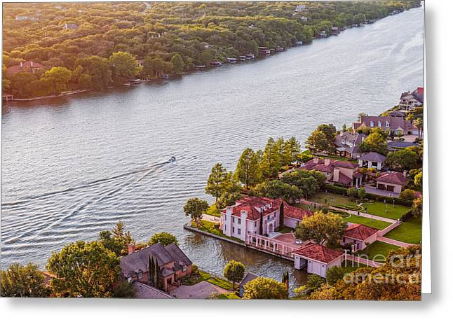 Mayfield Greeting Cards - The View from Mt. Bonnell At Sunset - Austin Texas Hill Country Greeting Card by Silvio Ligutti