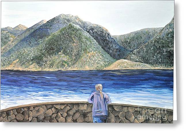 Nature Scene Greeting Cards - The View on the Lake Greeting Card by Reb Frost