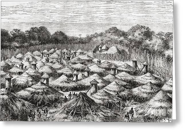 African Huts Greeting Cards - The Village Of Kiwana,tanzania, Central Greeting Card by Vintage Design Pics