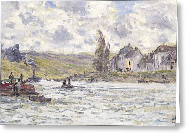 On The Banks Greeting Cards - The Village of Lavacourt Greeting Card by Claude Monet