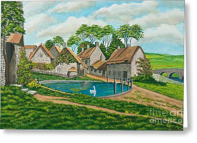 English Cottages Greeting Cards - The Village Pond in Wroxton Greeting Card by Charlotte Blanchard