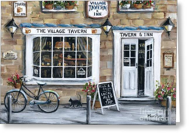 Garden Scene Greeting Cards - The Village Tavern Greeting Card by Marilyn Dunlap