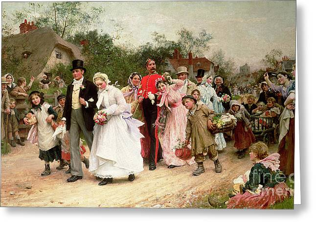 Country Church Greeting Cards - The Village Wedding Greeting Card by Sir Samuel Luke Fildes