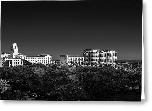 The Vinoy Resort Hotel B/w Greeting Card by Marvin Spates