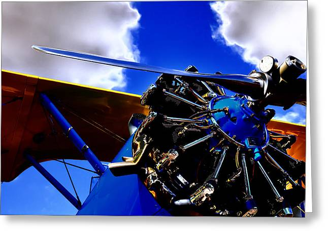 Plane Radial Engine Greeting Cards - The Vintage 1940 Stearman PT-18 Greeting Card by David Patterson