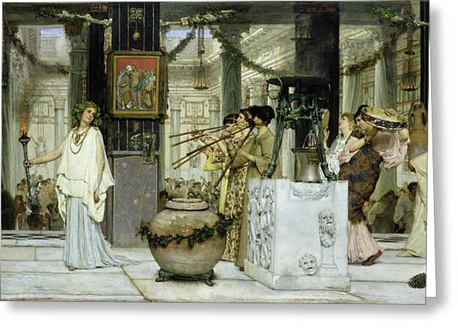 Piper Greeting Cards - The Vintage Festival in Ancient Rome Greeting Card by Sir Lawrence Alma Tadema