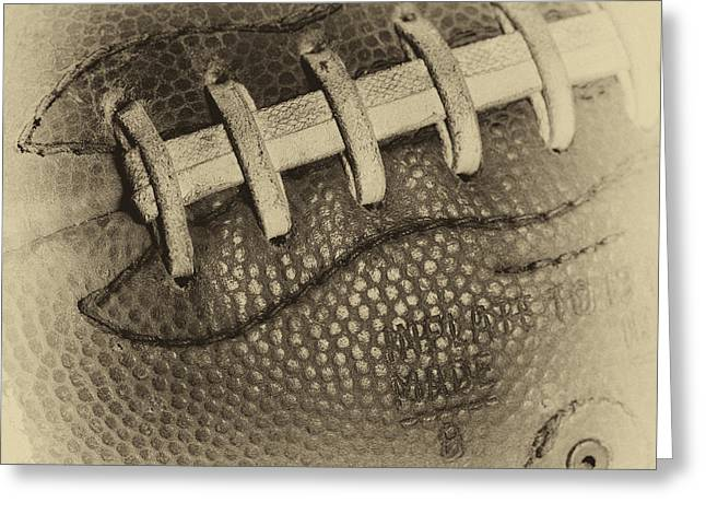 Football Closeup Greeting Cards - The Vintage Football Greeting Card by David Patterson