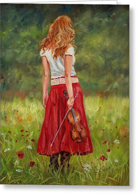 Red Haired Girl Greeting Cards - The Violinist Greeting Card by David Stribbling