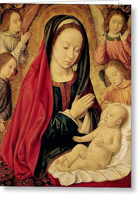Christ Child Greeting Cards - The Virgin and Child Adored by Angels  Greeting Card by Jean Hey