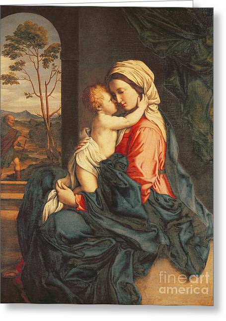 Madonna And Child Greeting Cards - The Virgin and Child Embracing Greeting Card by Giovanni Battista Salvi