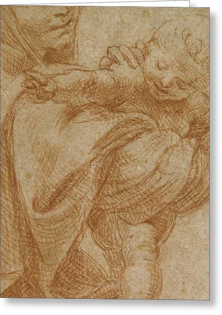 Christian Pastels Greeting Cards - The Virgin and Child Greeting Card by Lodovico Carracci