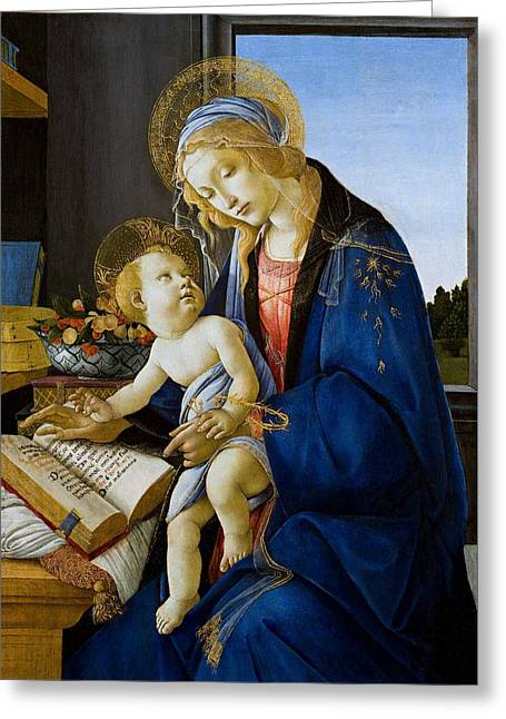 Religious Paintings Greeting Cards - The Virgin and Child the Madonna of the Book Greeting Card by Sandro Botticelli