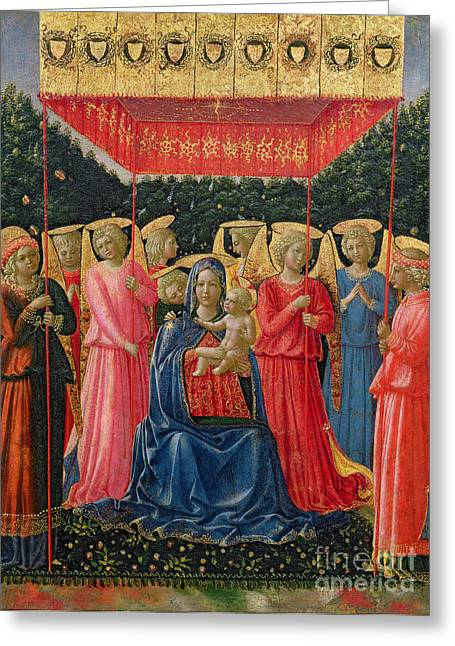 Jesus With Children Greeting Cards - The Virgin and Child with Angels Greeting Card by Fra Angelico