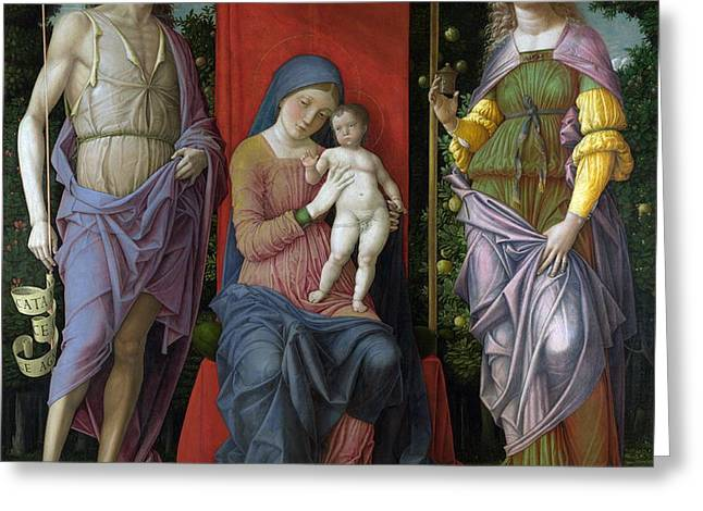The Virgin And Child With Saints Greeting Card by Celestial Images