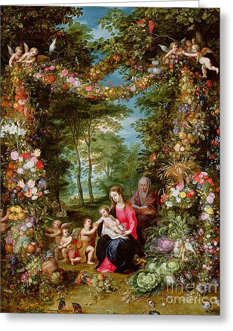 The Virgin And Child With The Infant Saint John The Baptist, Saint Anne And Angels, Surrounded By A  Greeting Card by Brueghel and Balen